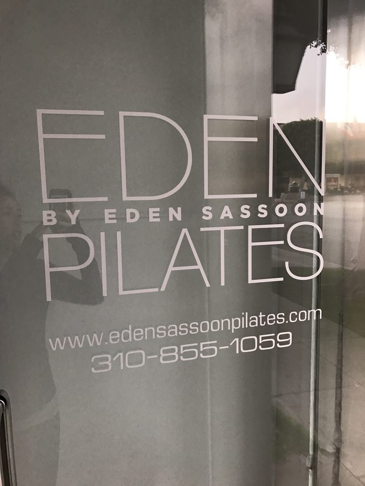 Frosted Glass Door that says Eden by Eden Sassoon Pilates