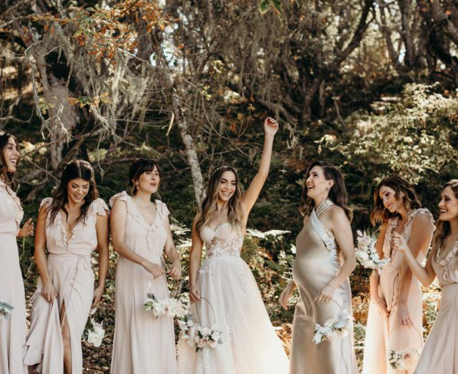 Erin and her bridal party laughing
