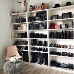Shoes organized neatly on shelves