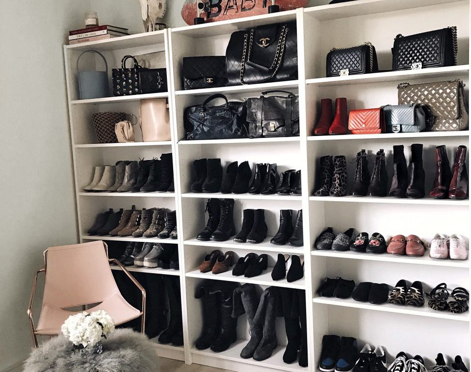Shoes organized neatly on shelves