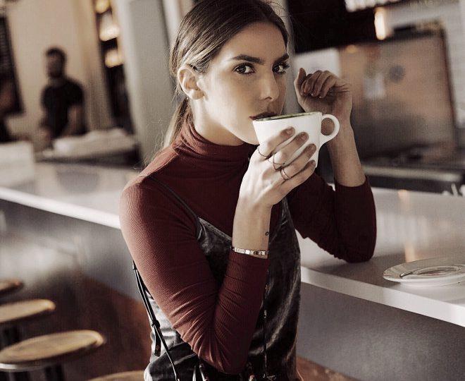 Erin drinking coffee