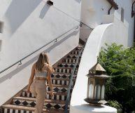 Erin walking up stairs