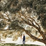 Erin and Matt standing under a large tree having their first look.
