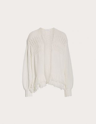 White Fringe Cashmere Cardigan from Frame