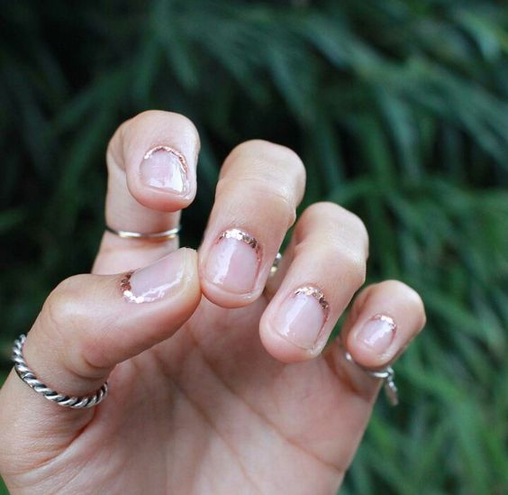 Inverted French Maincure with gold at the cuticle